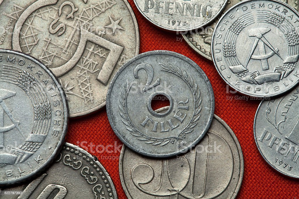 Coins of Communist Hungary stock photo