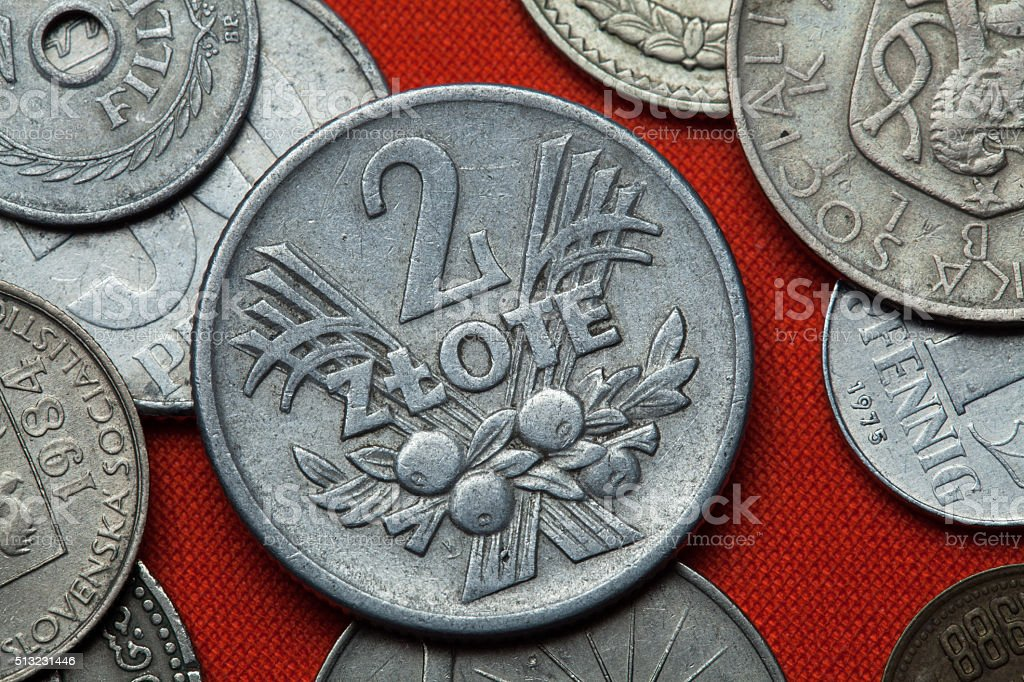Coins of Communist Poland stock photo