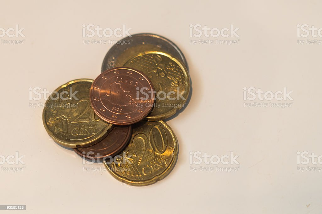 Coins of euro and cents stock photo