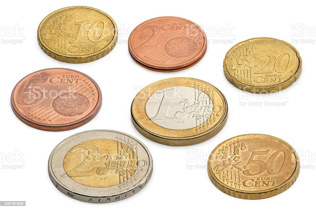Coins of euros and eurocents isolated on a white background. stock photo