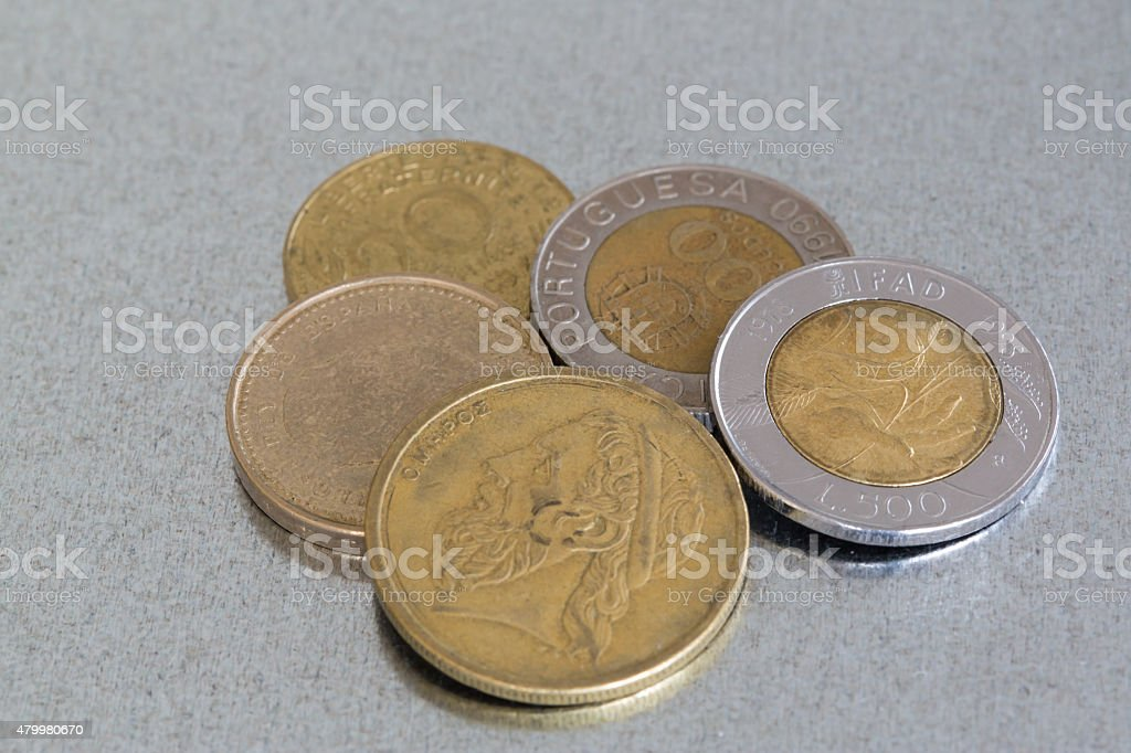 Coins of former european currencies stock photo