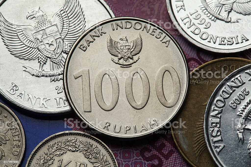 Coins of Indonesia stock photo