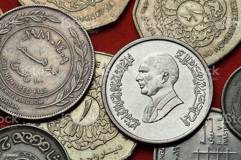 Coins of Jordan. King Hussein bin Talal stock photo