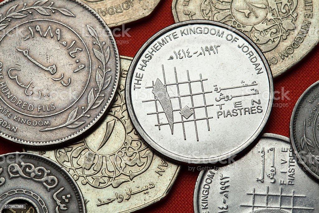 Coins of Jordan stock photo