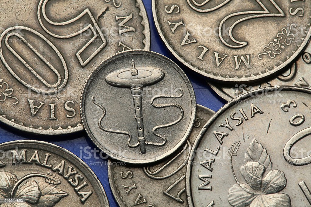 Coins of Malaysia stock photo
