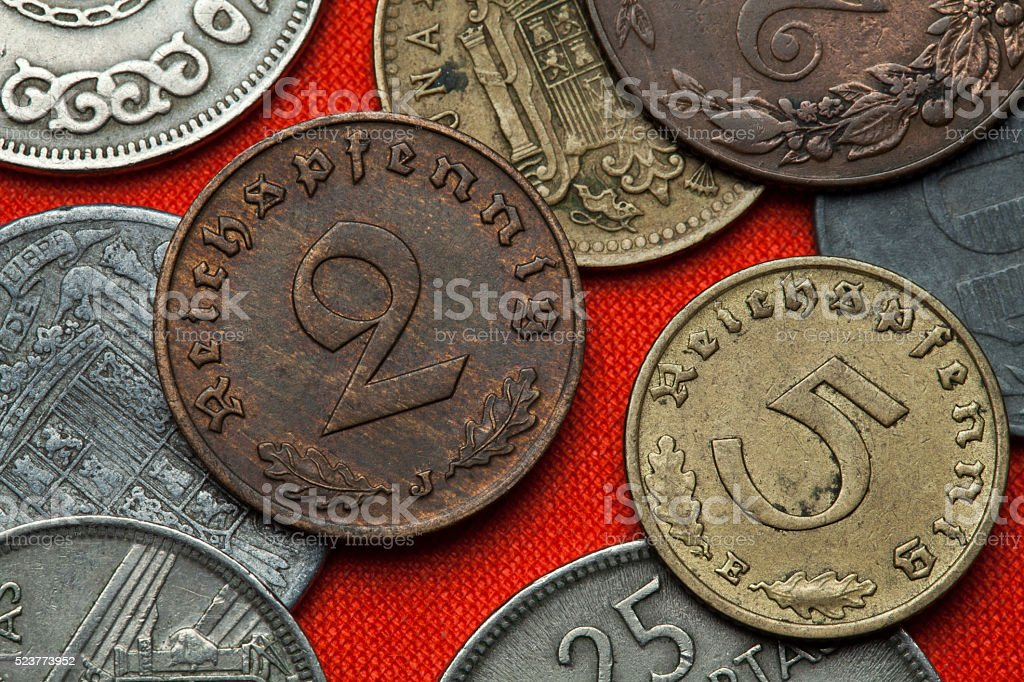Coins of Nazi Germany stock photo