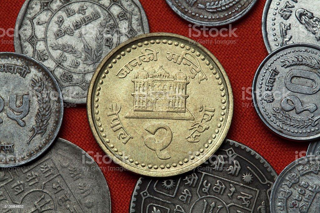 Coins of Nepal. Janaki Mandir Temple in Janakpur stock photo