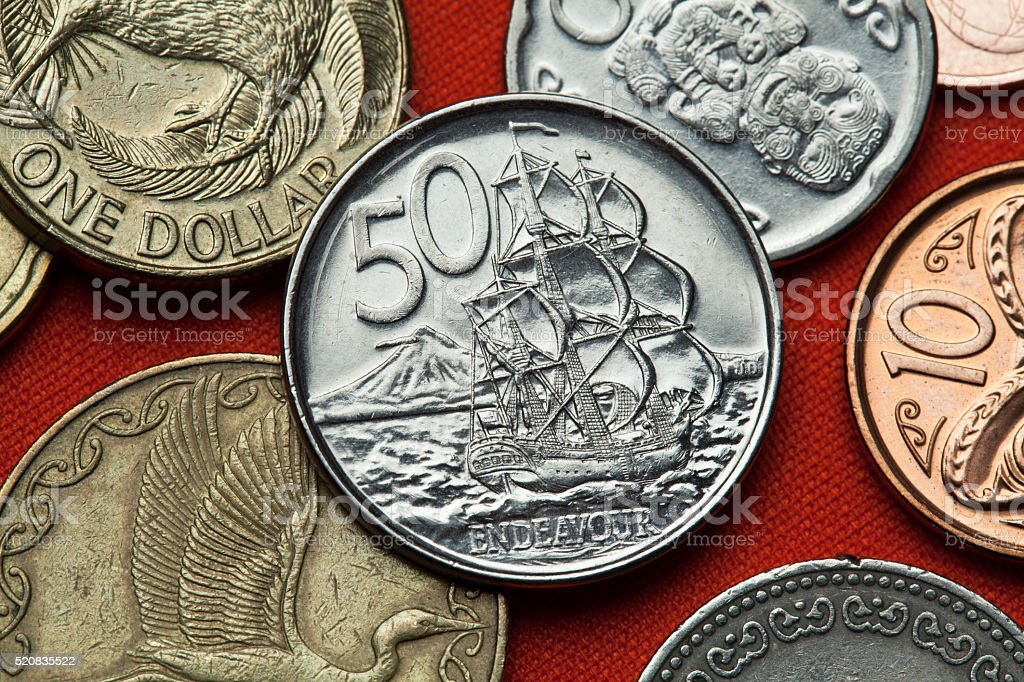 Coins of New Zealand. HM Bark Endeavour stock photo