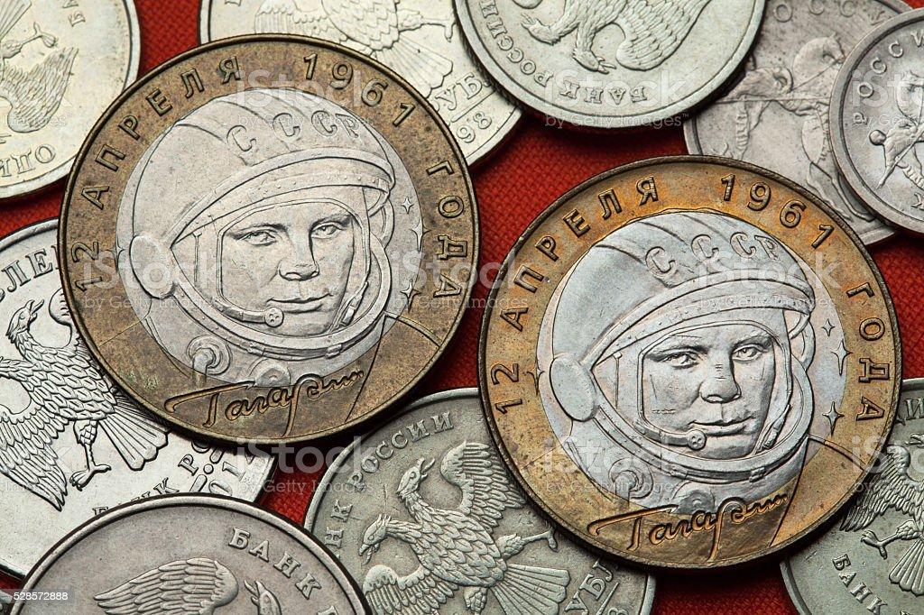 Coins of Russia. Yuri Gagarin stock photo