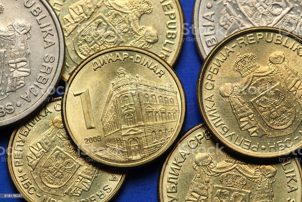 Coins of Serbia stock photo