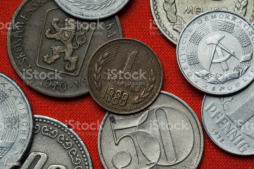 Coins of Socialist Bulgaria stock photo
