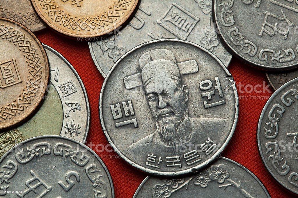 Coins of South Korea. Korean naval commander Yi Sun-sin stock photo