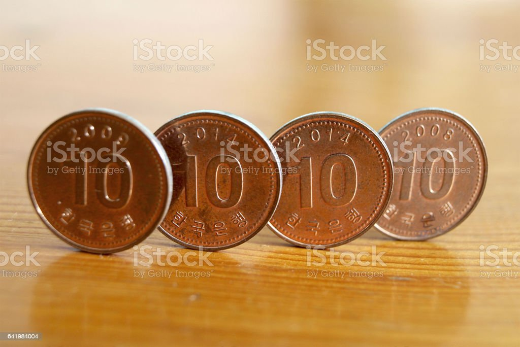 Coins of South Korea. stock photo
