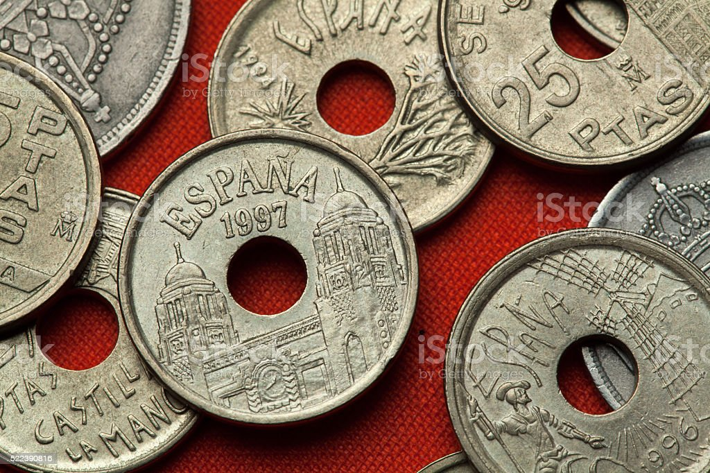 Coins of Spain. Assembly Palace in Melilla stock photo