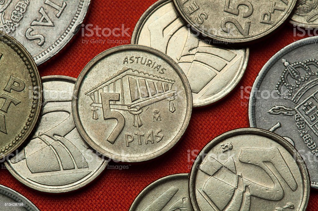 Coins of Spain. Asturian granary horreo stock photo