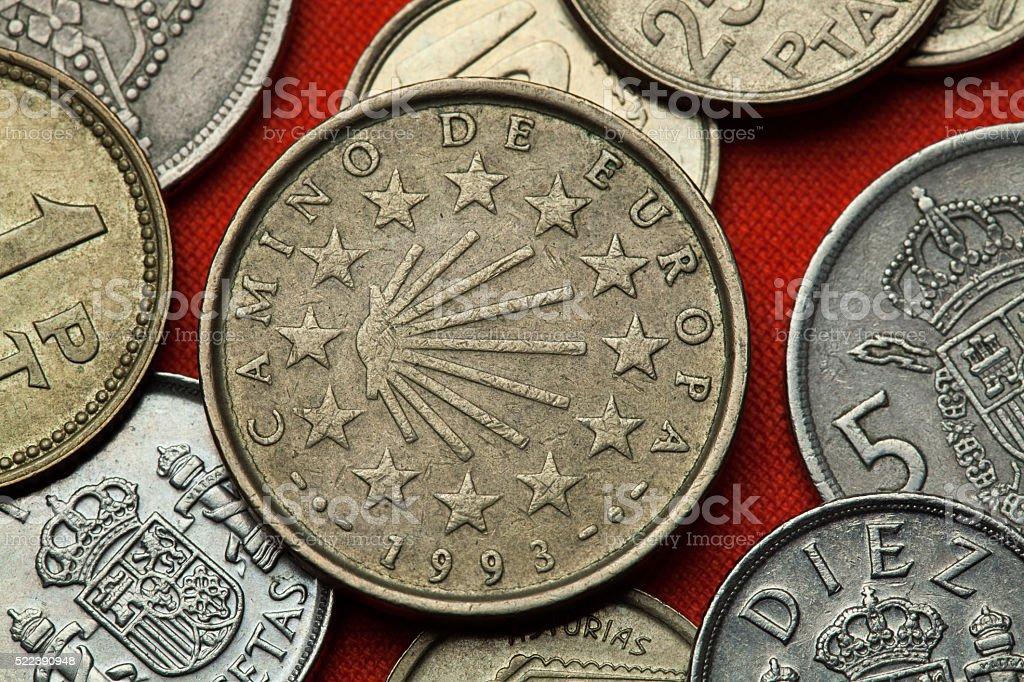 Coins of Spain. Camino de Santiago stock photo