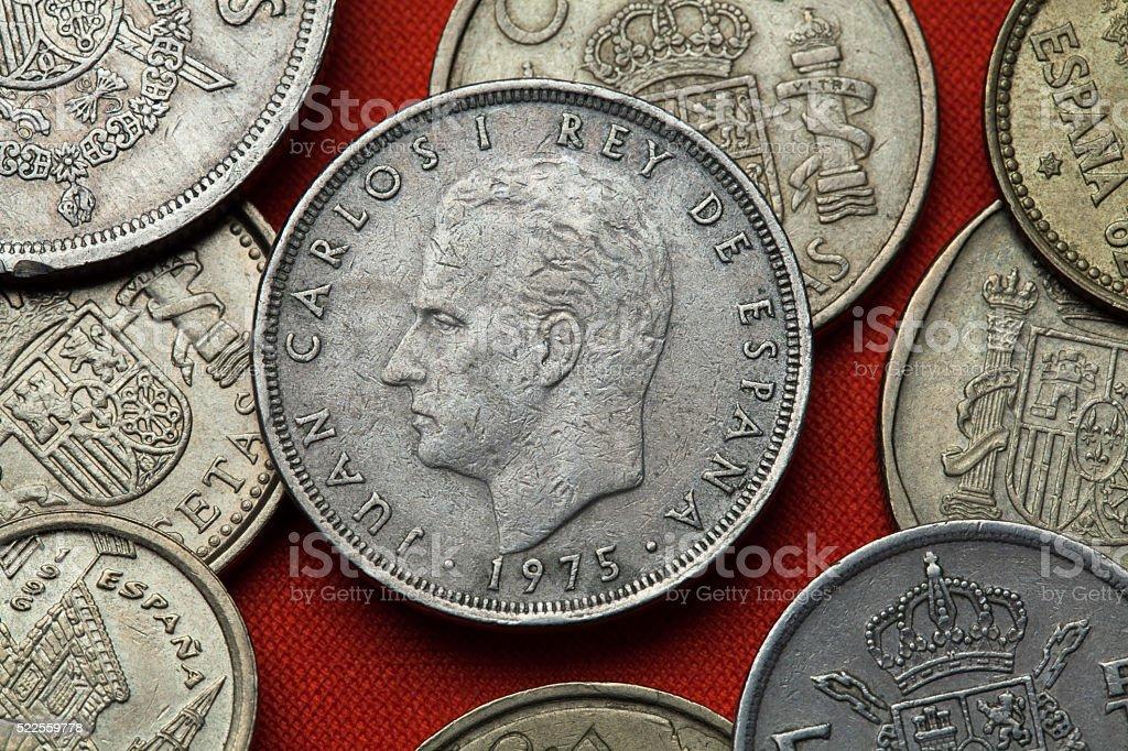 Coins of Spain. King Juan Carlos I stock photo