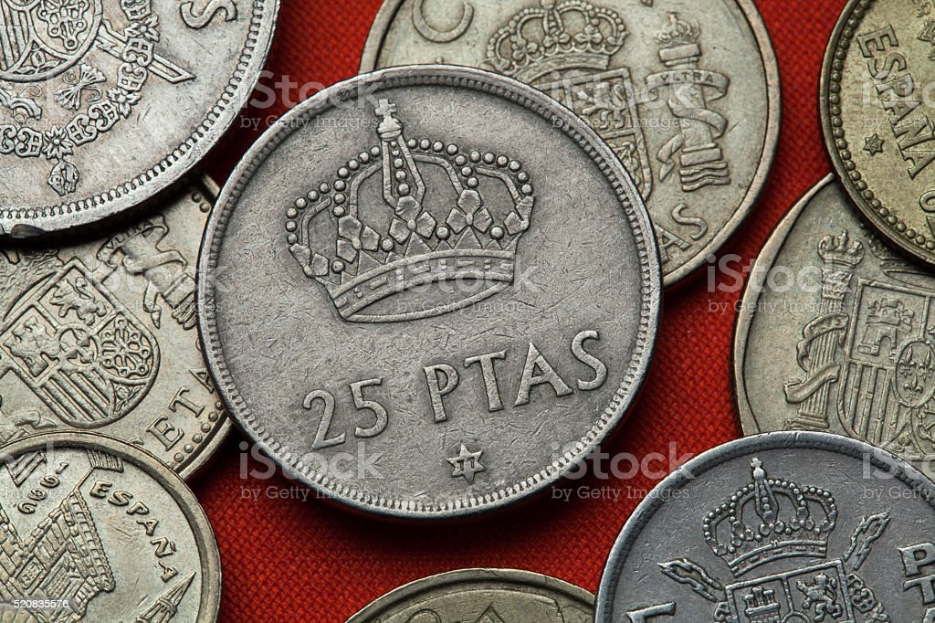 Coins of Spain. Spanish Royal crown stock photo