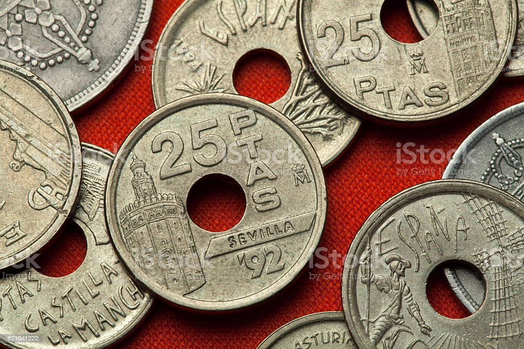 Coins of Spain. Torre del Oro in Seville stock photo