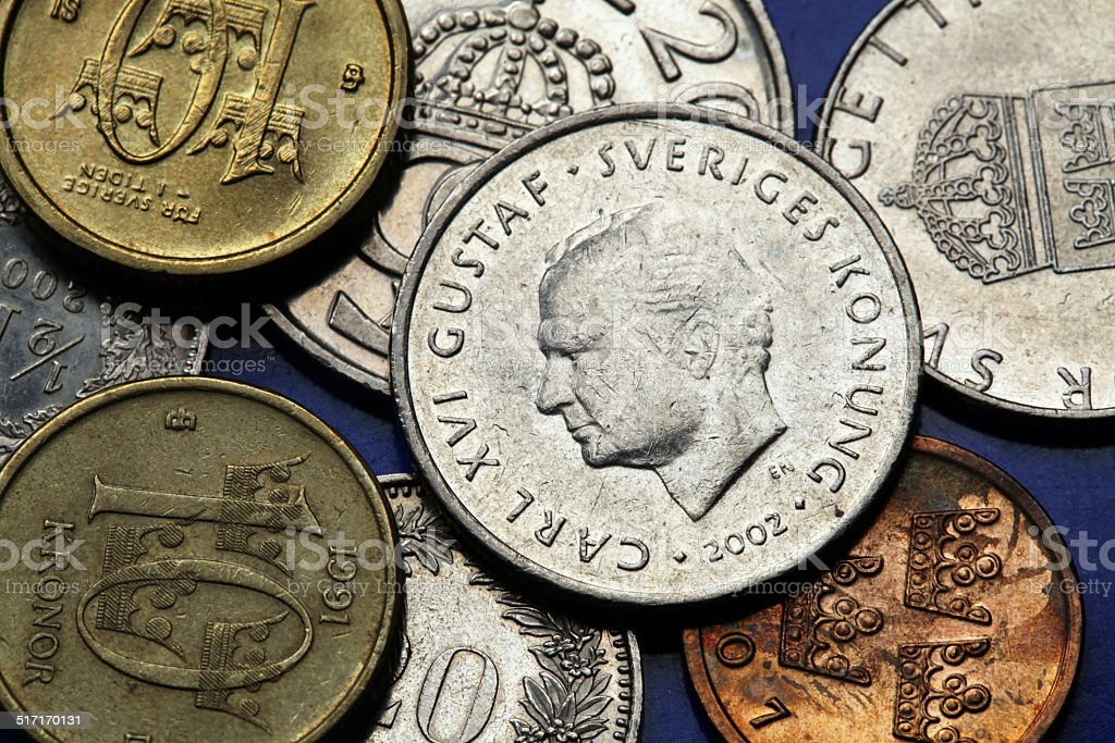 Coins of Sweden stock photo