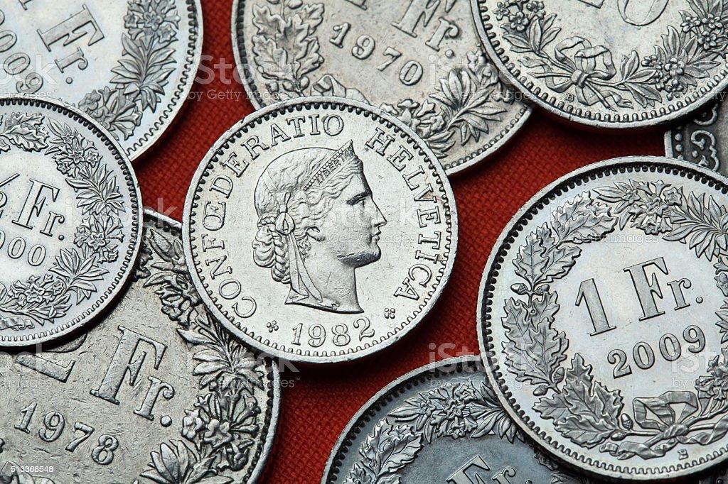 Coins of Switzerland. Libertas head stock photo