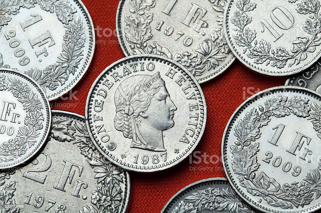 Coins of Switzerland. Libertas head stock photo
