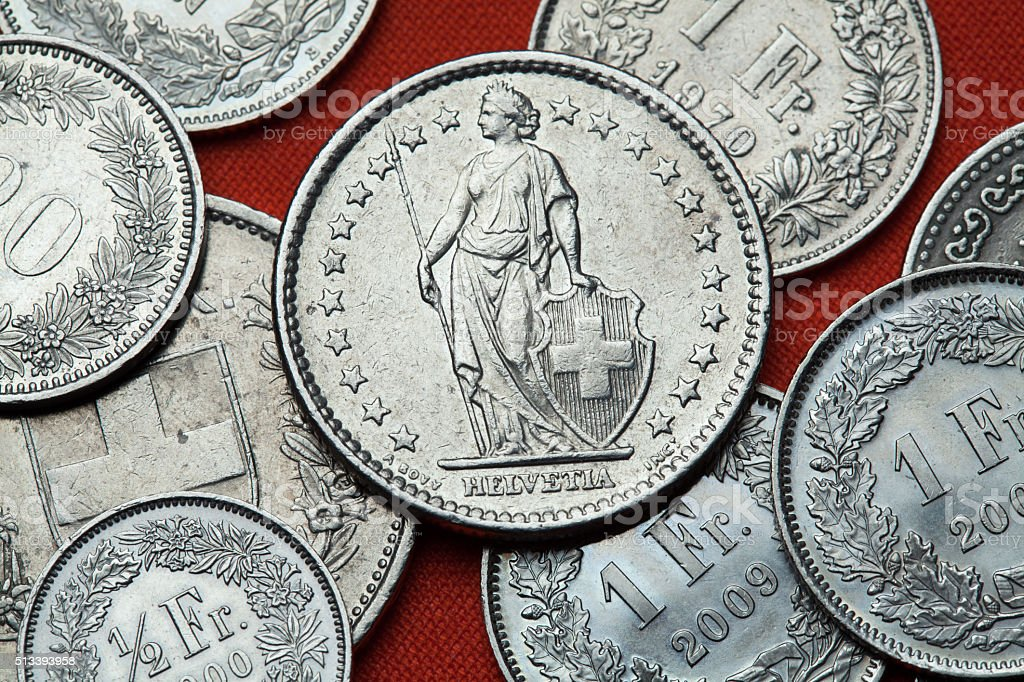 Coins of Switzerland. Standing Helvetia stock photo
