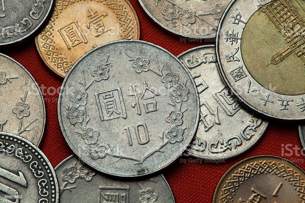 Coins of Taiwan stock photo