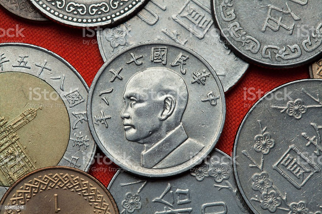Coins of Taiwan. Taiwan president Chiang Kai-shek stock photo