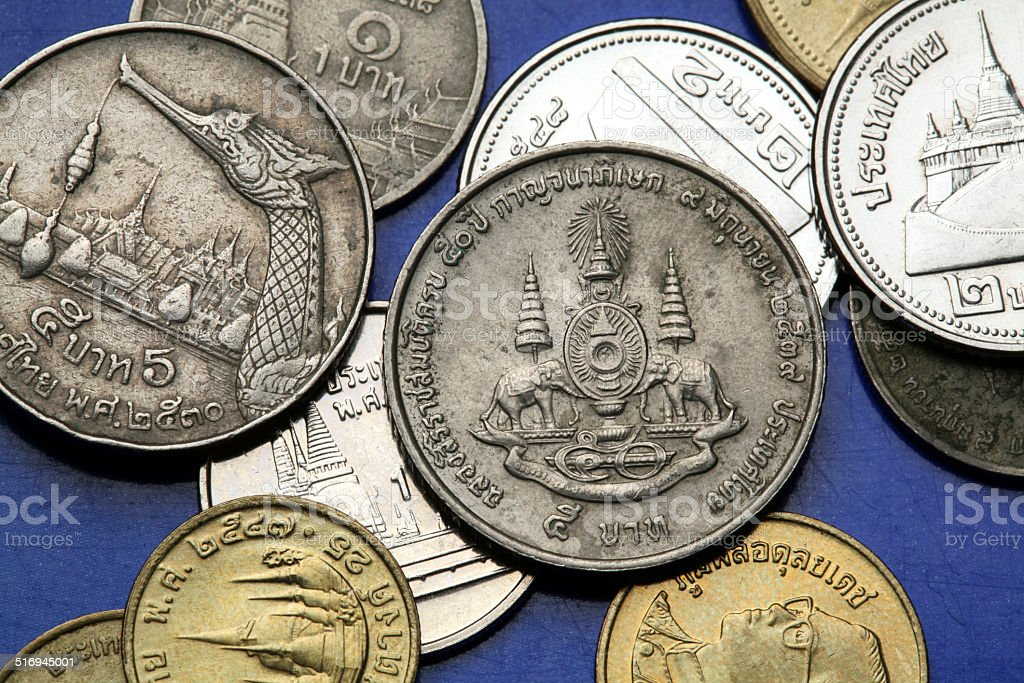 Coins of Thailand stock photo
