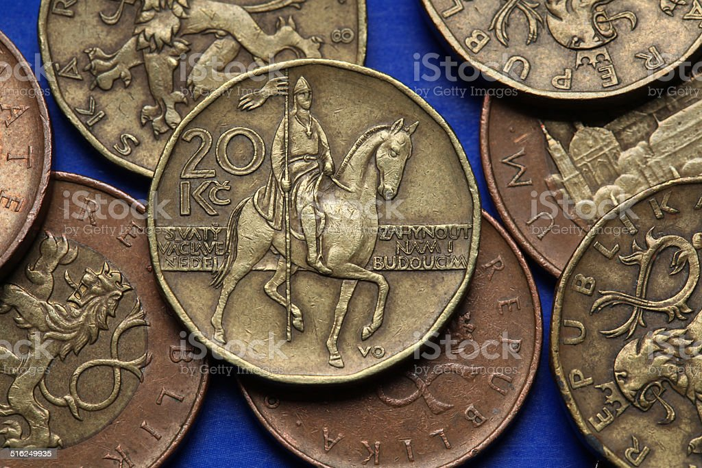 Coins of the Czech Republic stock photo