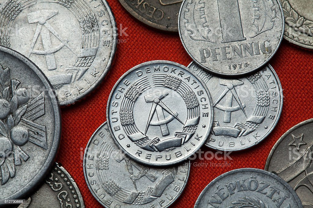 Coins of the German Democratic Republic (East Germany) stock photo