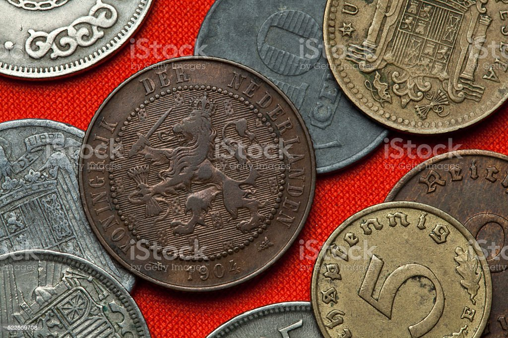 Coins of the Netherlands stock photo