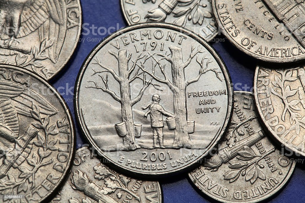 Coins of USA. US 50 state quarter stock photo