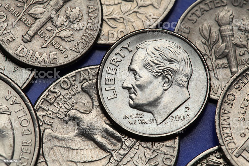 Coins of USA. US dime. Franklin D. Roosevelt stock photo