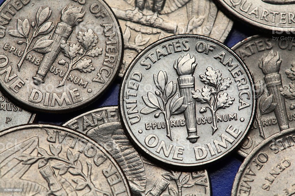 Coins of USA. US dime stock photo