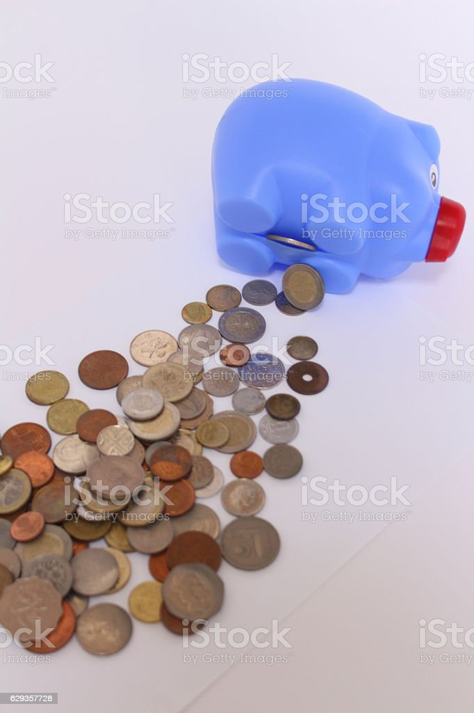 Coins of various countries stock photo