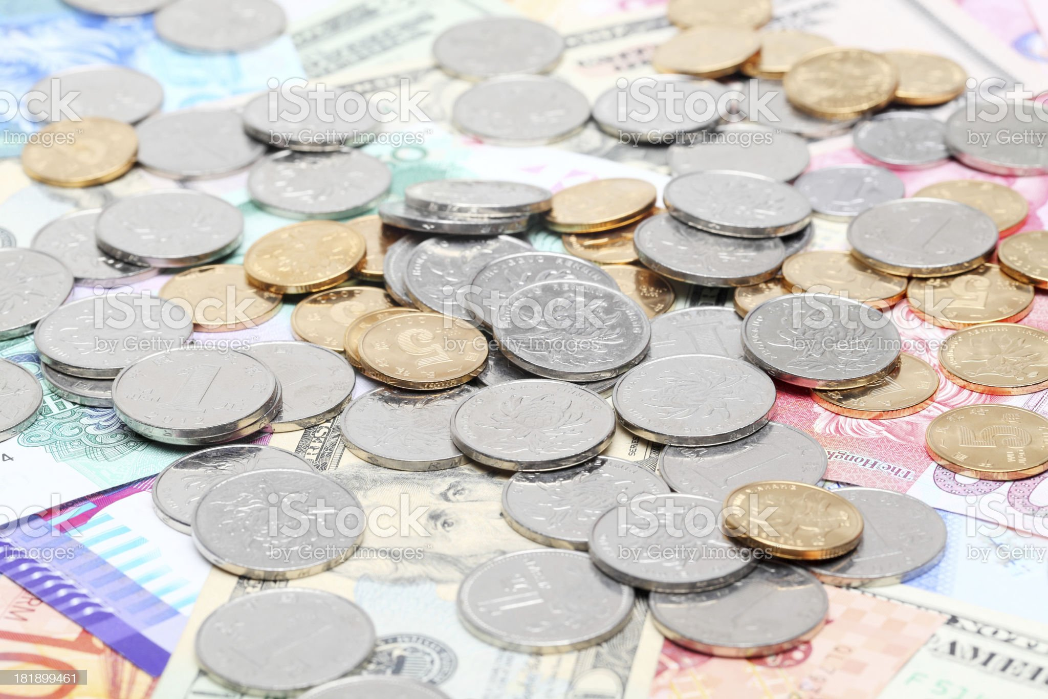 Coins on the currencies royalty-free stock photo