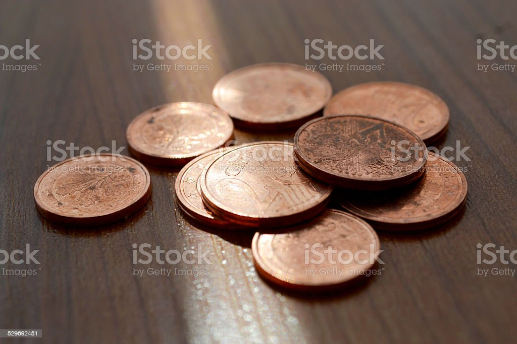 Coins on the table stock photo