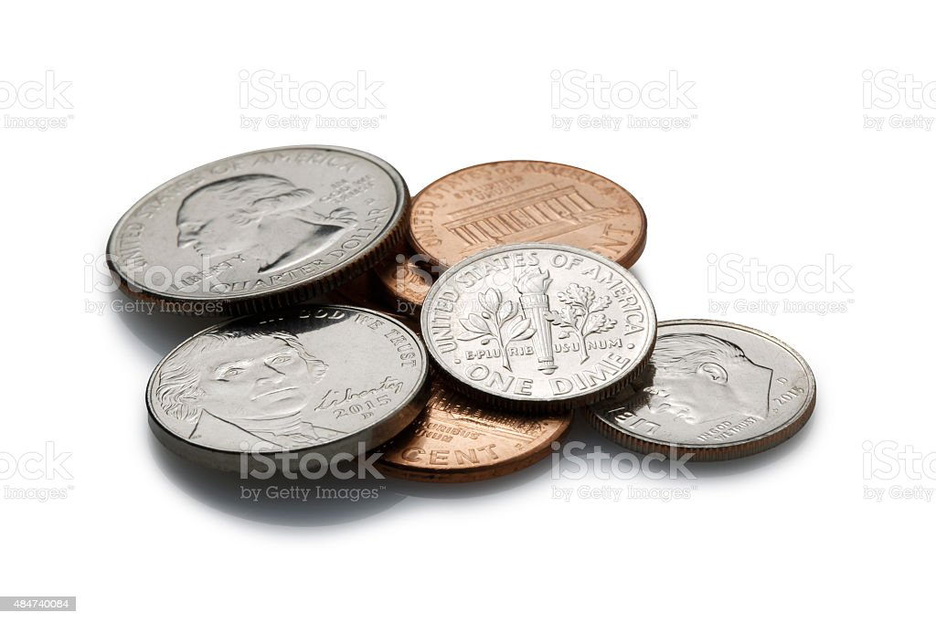 coins on White Background stock photo