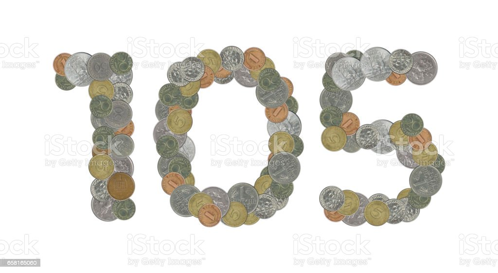 105 – Coins on white background stock photo