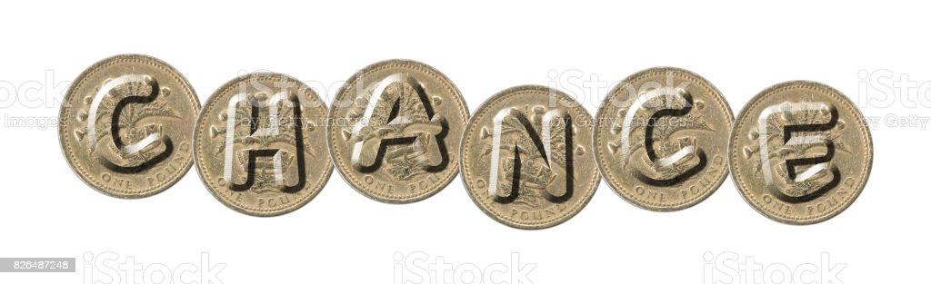 CHANCE – Coins on white background stock photo