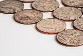 USA coins on white