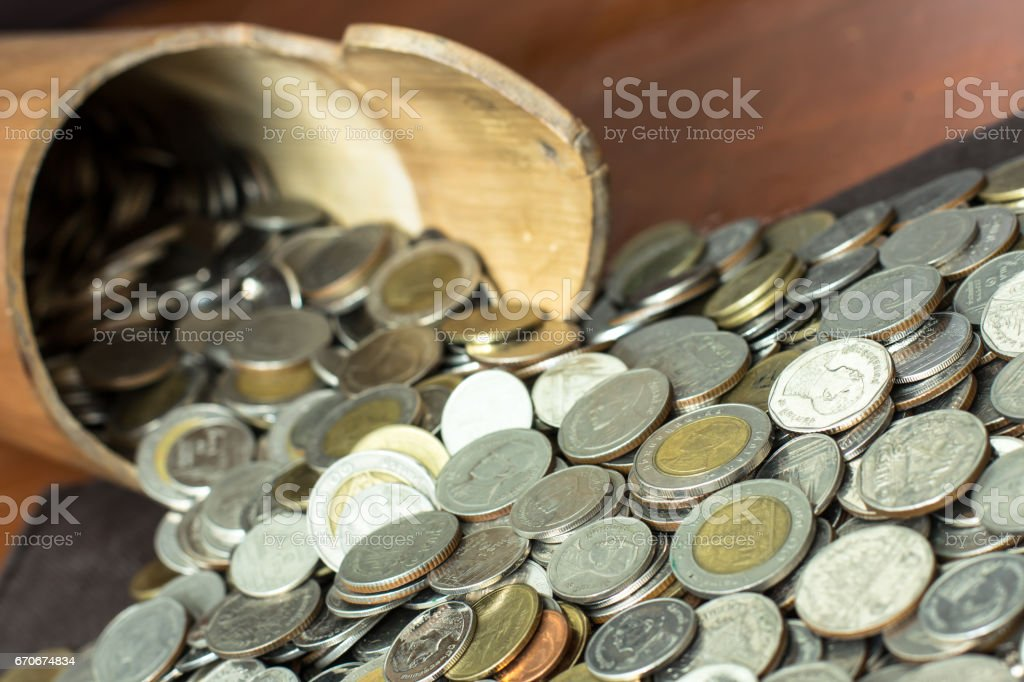Coins Outflow A Bamboo Flask stock photo