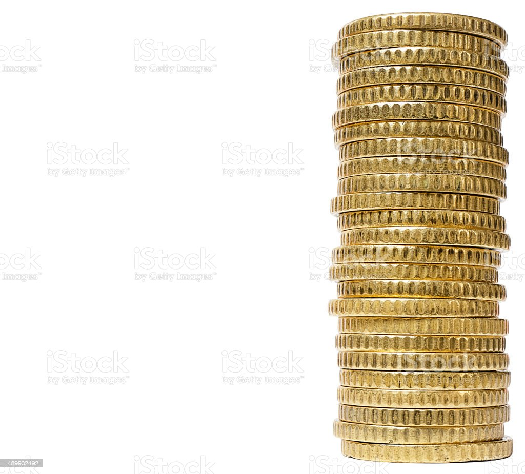 Coins pile gold isolated stock photo