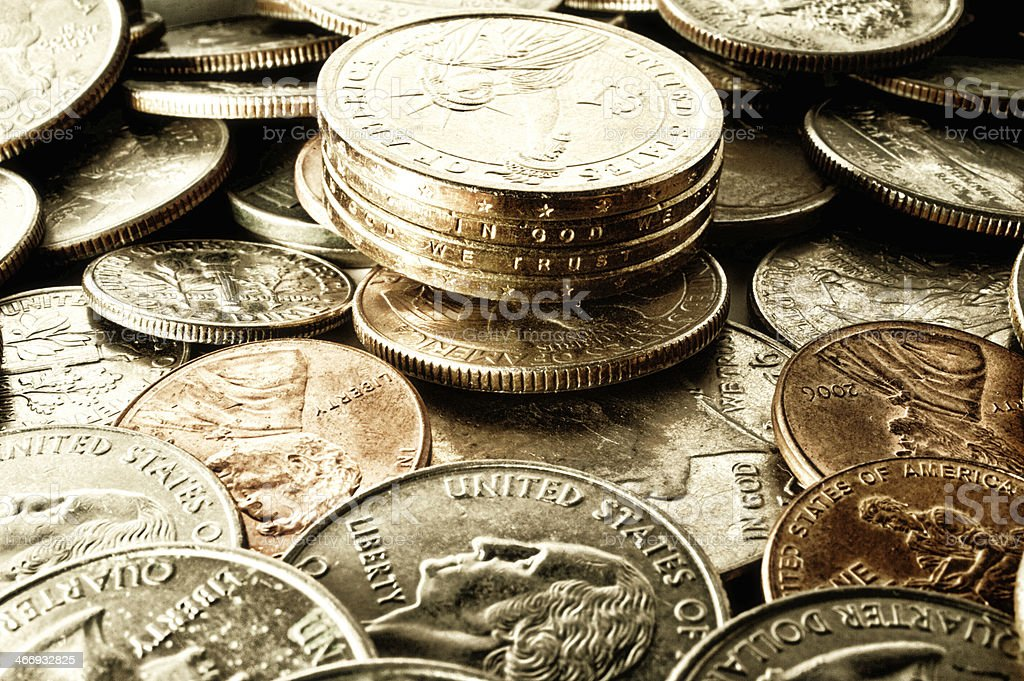 USA Coins Pile royalty-free stock photo