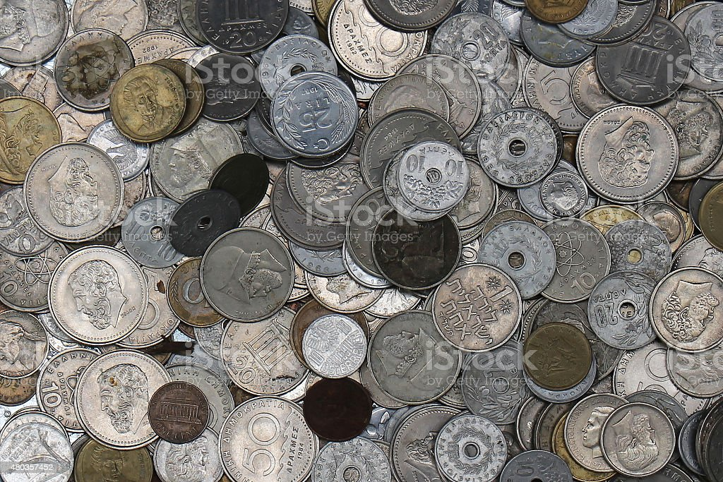 Coins pile stock photo