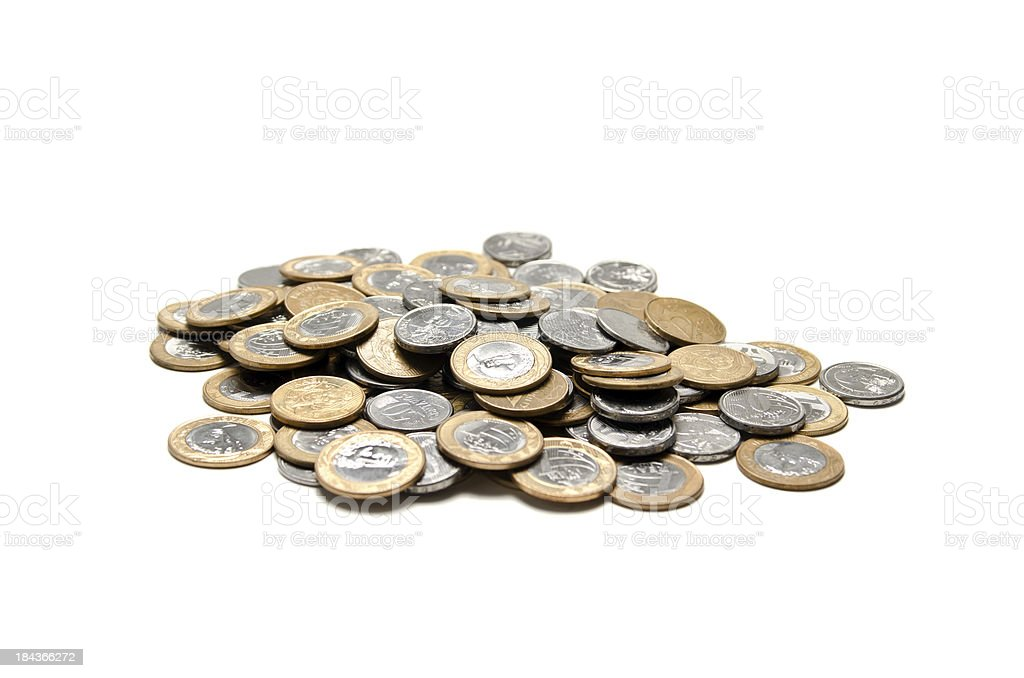 Coins piled - Clipping path stock photo
