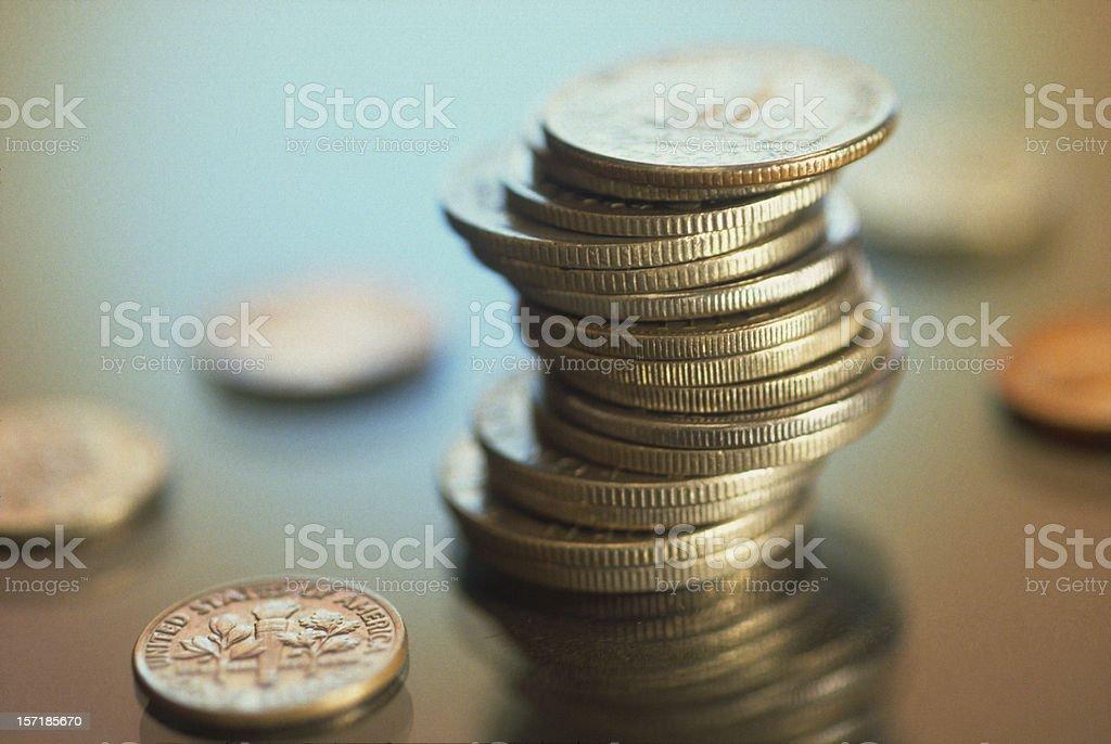Coins Piles stock photo