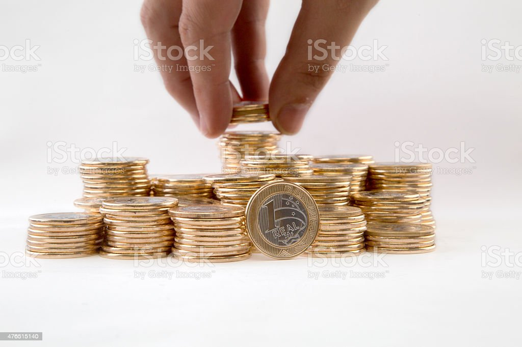 Coins pilled up stock photo